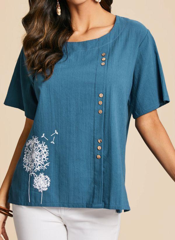 Повседневное Pубашки Короткие рукава Цветочный принт шею